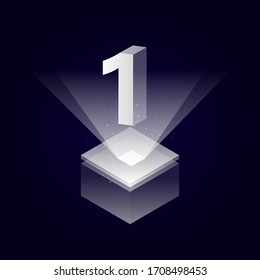 3d futuristic silver white solid number vector on square platform, shiny digital isometric count illustration with spotlight shimmer on light cube stage, technology typography of number one 1 symbol