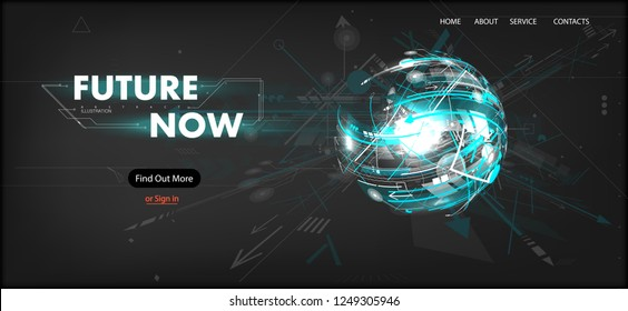 3D Futuristic Technology Website Template. Landing Page, Big Data, Virtual Reality, Artificial Intelligence, Hologram Screen, Science Fiction, Security System. Mock up website. Vector illustration