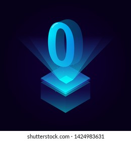 3d futuristic tiffany blue solid number vector on square platform, shiny digital isometric count illustration with spotlight shimmer on light cube stage, technology typography of number zero 0 symbol