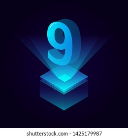 3d futuristic tiffany blue solid number vector on square platform, shiny digital isometric count illustration with spotlight shimmer on light cube stage, technology typography of number nine 9 symbol