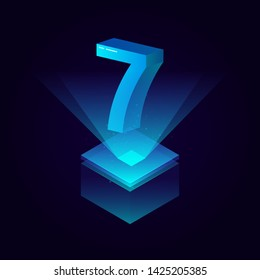 3d futuristic tiffany blue solid number vector on square platform, shiny digital isometric count illustration with spotlight shimmer on light cube stage, technology typography of number seven 7 symbol