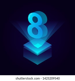 3d futuristic tiffany blue solid number vector on square platform, shiny digital isometric count illustration with spotlight shimmer on light cube stage, technology typography of number eight 8 symbol