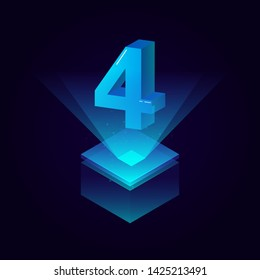 3d futuristic tiffany blue solid number vector on square platform. shiny digital isometric count illustration with spotlight shimmer on light cube stage.. technology typography of number four 4 symbol.