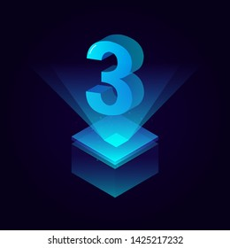 3d futuristic tiffany blue solid number vector on square platform, shiny digital isometric count illustration with spotlight shimmer on light cube stage, technology typography of number three 3 symbol