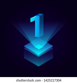 3d futuristic tiffany blue solid number vector on square platform, shiny digital isometric count illustration with spotlight shimmer on light cube stage, technology typography of number one 1 symbol