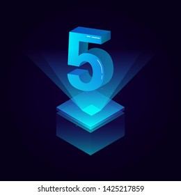 3d futuristic tiffany blue solid number vector on square platform, shiny digital isometric count illustration with spotlight shimmer on light cube stage, technology typography of number five 5 symbol