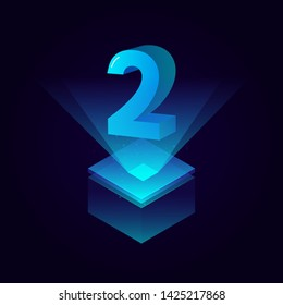 3d futuristic tiffany blue solid number vector on square platform, shiny digital isometric count illustration with spotlight shimmer on light cube stage, technology typography of number two 2 symbol