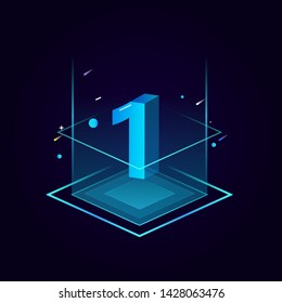 3d futuristic tiffany blue solid number vector on square platform, shiny isometric count down illustration light shimmer stage, e-commerce sale promotion, technology digital typography of one 1 symbol