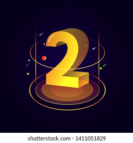 3d futuristic yellow orange solid number vector on dark background, shiny isometric count down illustration with shimmer, digital design for web e-commerce sale promotion, typography of two 2 symbol