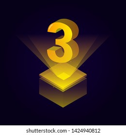3d futuristic yellow solid number vector on square platform, golden shiny digital isometric count illustration and spotlight shimmer on light cube stage, technology typography of number three 3 symbol