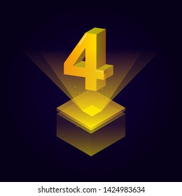 3d futuristic yellow solid number vector on square platform, golden shiny digital isometric count illustration and spotlight shimmer on light cube stage, technology typography of number four 4 symbol