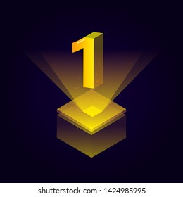 3d futuristic yellow solid number vector on square platform, golden shiny digital isometric count illustration and spotlight shimmer on light cube stage, technology typography of number one 1 symbol