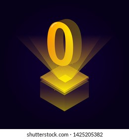 3d futuristic yellow solid number vector on square platform, golden shiny digital isometric count illustration and spotlight shimmer on light cube stage, technology typography of number zero 0 symbol