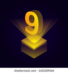 3d futuristic yellow solid number vector on square platform, golden shiny digital isometric count illustration and spotlight shimmer on light cube stage, technology typography of number nine 9 symbol