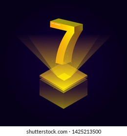 3d futuristic yellow solid number vector on square platform. golden shiny digital isometric count illustration and spotlight shimmer on light cube stage. technology typography of number seven 7 symbol.