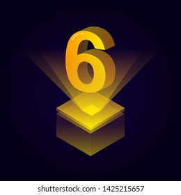 3d futuristic yellow solid number vector on square platform, golden shiny digital isometric count illustration and spotlight shimmer on light cube stage, technology typography of number six 6 symbol