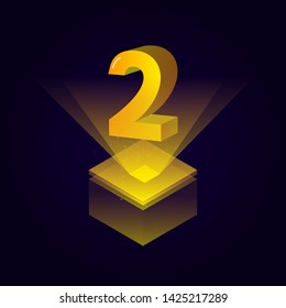 3d futuristic yellow solid number vector on square platform, golden shiny digital isometric count illustration and spotlight shimmer on light cube stage, technology typography of number two 2 symbol