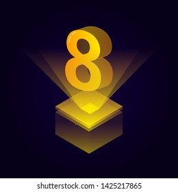 3d futuristic yellow solid number vector on square platform, golden shiny digital isometric count illustration and spotlight shimmer on light cube stage, technology typography of number eight 8 symbol
