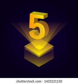 3d futuristic yellow solid number vector on square platform, golden shiny digital isometric count illustration and spotlight shimmer on light cube stage, technology typography of number five 5 symbol