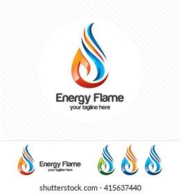 3D gas logo design vector , flame illustration on white background.