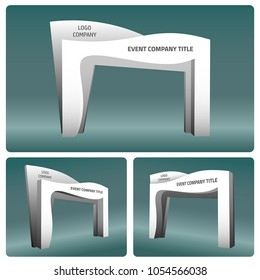 3d gate entrance abstract style vector editable