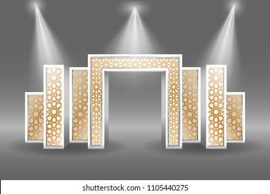 3d gate entrance exhibition islamic ornament style with spotlight. Vector editable.
