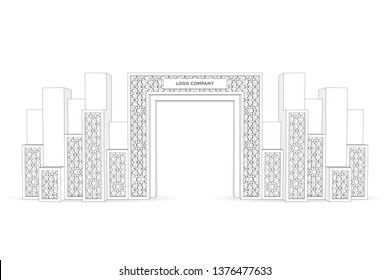 3d gate entrance exhibition with islamic ornament and blank space for logo company. Vector sketch outline coloring drawing editable isolated.
