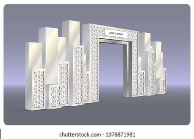 3d gate entrance exhibition with islamic ornament and blank space for logo company. Vector editable isolated.