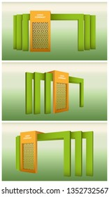 3d gate entrance exhibition with ornament and blank space for logo company. Vector editable isolated.