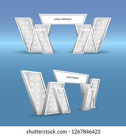 3d gate entrance modern islamic pattern style for exhibition with blank space logo company. Vector editable isolated.