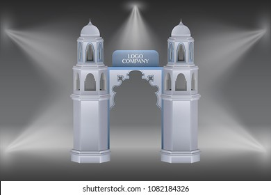 3d gate entrance mosque minaret islamic style with spotlight and logo company for exhibition. Vector editable.