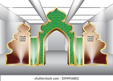3d gate entrance ramadan style with spotlight and logo company. Vector editable.