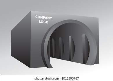 3d gate entrance tunnel for exhibition and space for logo vector editable