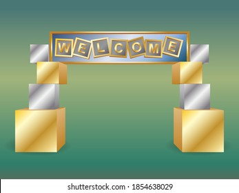 3d gate entrance welcome text box with metal silver color style decoration for event exhibition. Vector editable isolated.