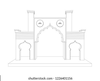 3d gate exhibition islamic style with blank space for image. Vector sketch outline drawing editable.