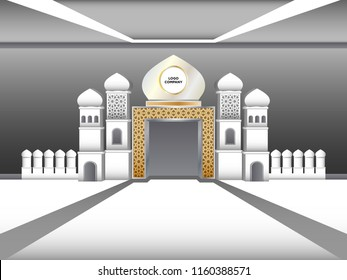 3d gate islamic minaret style with space logo company for exhibition. Vector editable.