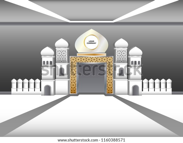 3d Gate Islamic Minaret Style Space Stock Vector (Royalty Free