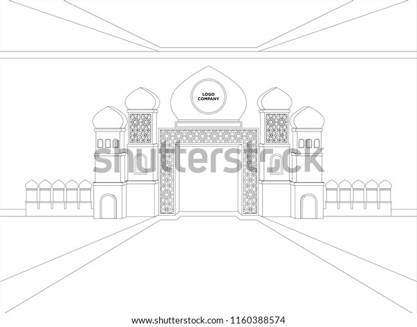 3d Gate Islamic Minaret Style Space Stock Vector (Royalty