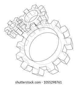 3D gear wheel. Vector rendering of 3d. Wire-frame style. The layers of visible and invisible lines are separated