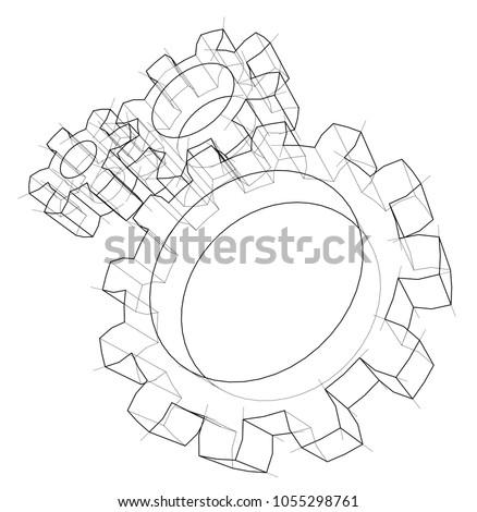 3 D Gear Wheel Vector Rendering 3 D Stock Vector Royalty Free