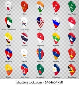 3D geolocation signs of twenty five Asian countries with inscriptions. Set of  twenty five 3d geolocation icons on transparent background. Flags of Asia countries in the form of geolocation signs.