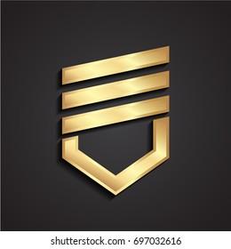 3d geometric shape military heraldic shield symbol
