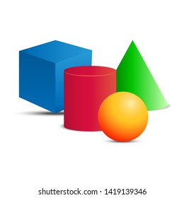 3D geometric shapes: cube, cylinder, cone, ball