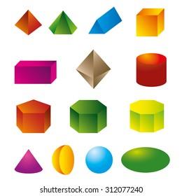 3d geometric shapes vector