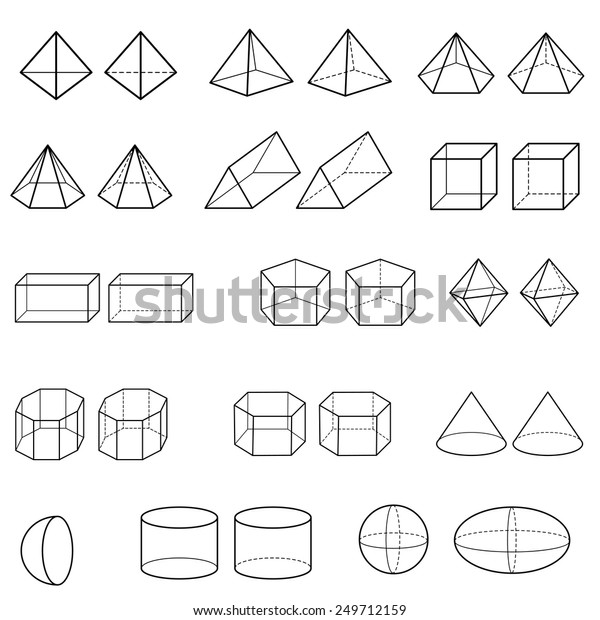 3d Geometric Shapes Vector Stock Vector (Royalty Free) 249712159