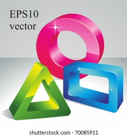 3D geometric shapes. Vector illustration.
