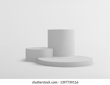 3D Geometric Studio Scene Design with Abstract  Stage Podium Form, Empty Cylinder Pedestal, Minimalistic Platform Composition. Vector Illustration/Visualization/Render of 3d Graphic Design – Vector