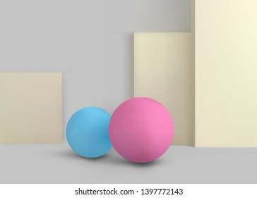 3D Geometric Studio Scene Design with Abstract Spheres and Boxes Form,  Minimalistic Concept Composition. Vector Illustration/Visualization/Render of 3d Graphic Design – Vector