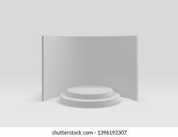 3D Geometric Studio Scene with Stage Podium, Empty Showroom Pedestal. Vector Visualization/Render of 3d Graphic – Vector