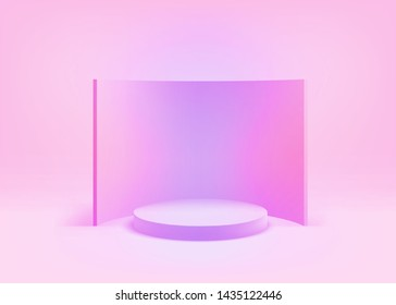 3D Geometric Studio Scene with Stage Podium, Empty Showroom Pedestal, Conceptual Trendy Color Style, Creative 2D Visualization of 3d Graphic, Eps10 Vector Illustration - Vector